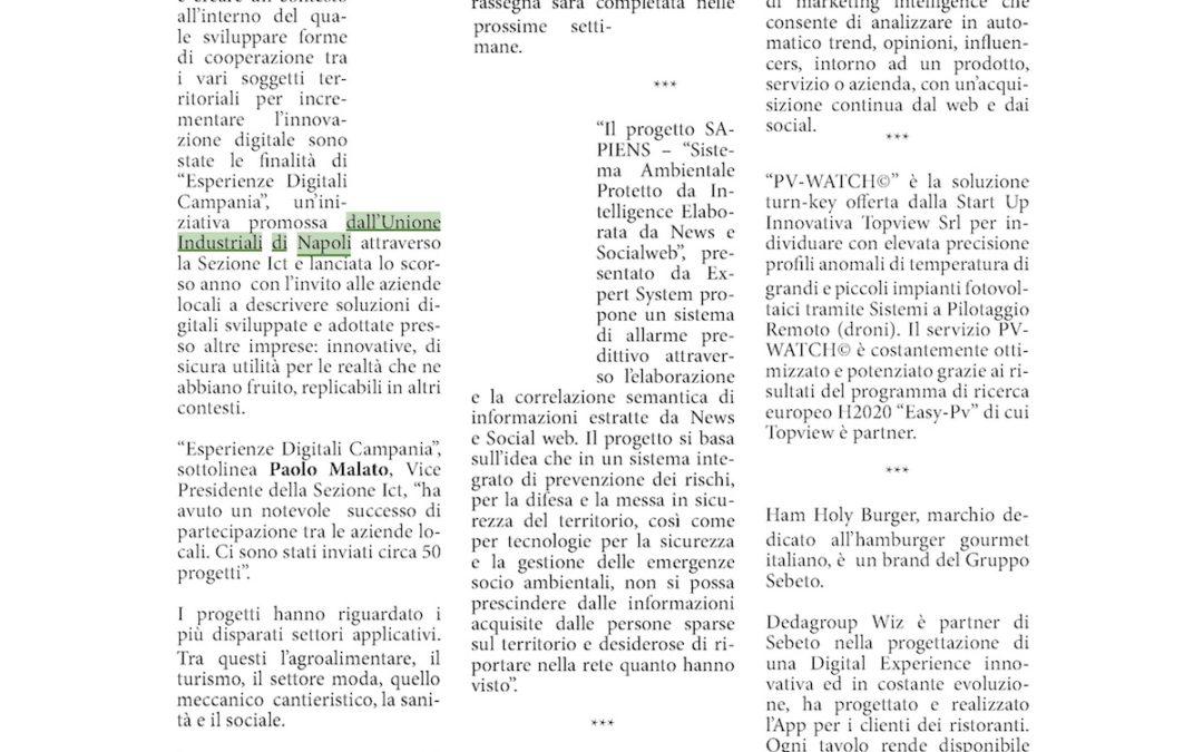 """TopView tra le aziende menzionate dell'Unione Industriali di Napoli con la soluzione sul controllo fotovoltaico """"PV-WATCH©"""""""